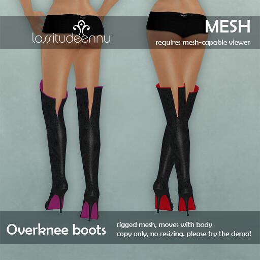 lassitude & ennui mesh overknee boots