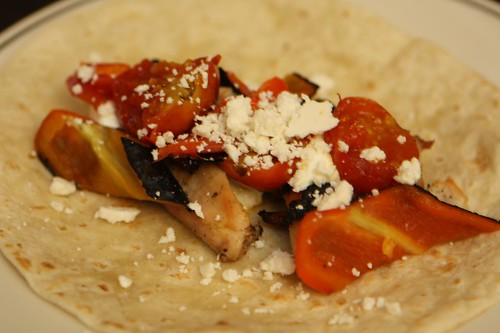 Grilled Chicken, Pepper, and Tomato Tortilla with Cotija and Sour Cream
