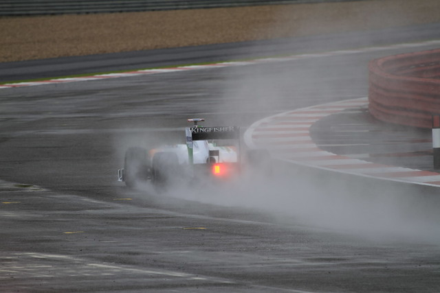Force India in Spray