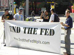 Protest against the Federal Reserve during event with Chairman Ben Bernanke