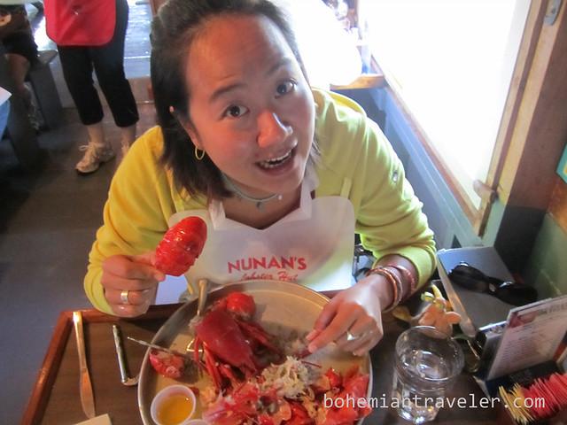 Juno eating lobster
