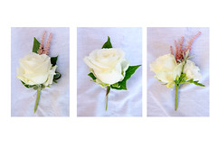 Vintage Buttonholes (Vicky Spence) Tags: flowers wedding rose vintage ivy buttonhole weddingflowers whiterose astilbe senecio lisianthus