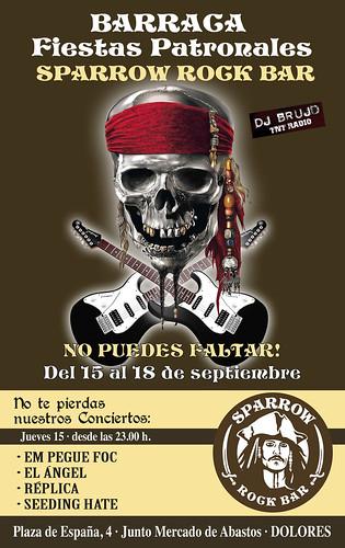 Cartel Actuación EmPegueFoc en la Barraca del Rock Bar Sparrow, en las fiestas de Dolores, el jueves 15 de septiembre de 2011