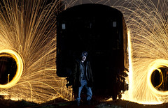 Wire Wool Self Portrait ([Nocturne]) Tags: longexposure lightpainting abandoned wool night train wire trains spinning staffordshire nocturne traingraveyard wirewool noctography wwwnoctographycouk wirewoolspin