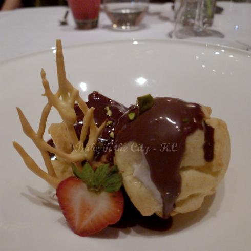 Sweet Ending - profiteroles filled with banana ice cream