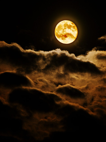 フリー写真素材, 自然・風景, 空, 夜空, 月, 雲,