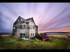 Lækjarskógur (SteinaMatt) Tags: old sunset sky abandoned colors car matt iceland nikon colours farm stripes halo tokina 1224mm ísland 2010 steinunn d80 steina cs5 dalasýsla hvammsfjörður matthíasdóttir lækjarskógur
