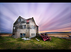 Lkjarskgur (SteinaMatt) Tags: old sunset sky abandoned colors car matt iceland nikon colours farm stripes halo tokina 1224mm sland 2010 steinunn d80 steina cs5 dalassla hvammsfjrur matthasdttir lkjarskgur