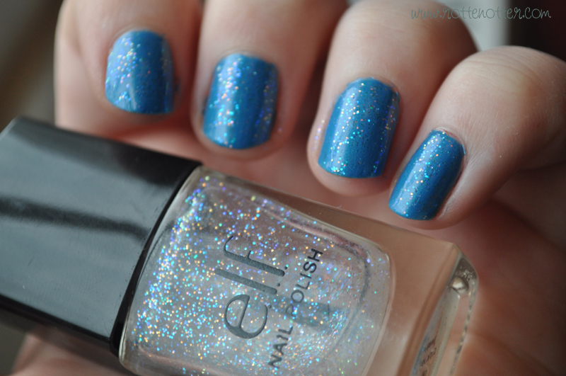 models own blue lagoon elf twinkle nail polish notd layered