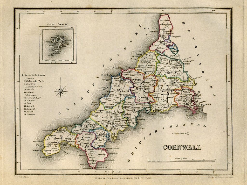Map of the Poor Law Unions of Cornwall and The Isles of Scilly, by Robert Creighton, 1840.