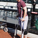 Daniel Murphy on crutches