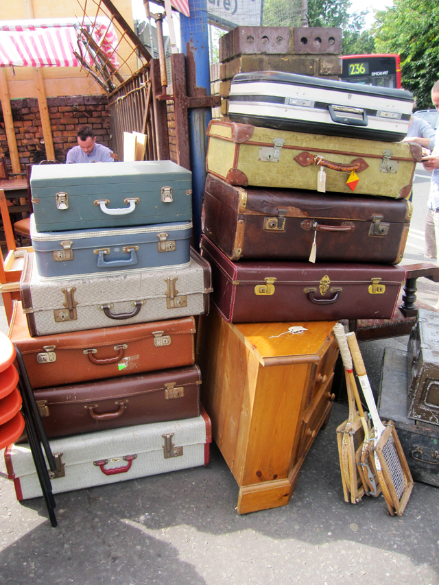 suitcases piled up