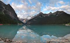 DSC_1840 (mingzkl) Tags: blue cloud mountain snow reflection sunrise boat nikon lakelouise banffnationalpark 28f28ais