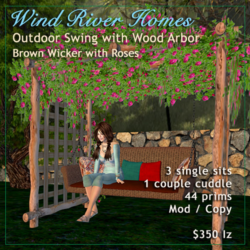 Brown Wicker Outdoor Swing with Rose Arbor