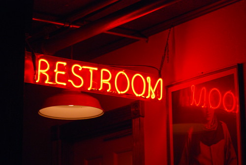 Weekend - Red Restroom Sign