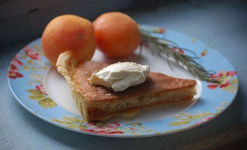 Rosemary-spiked apricot and almond tart