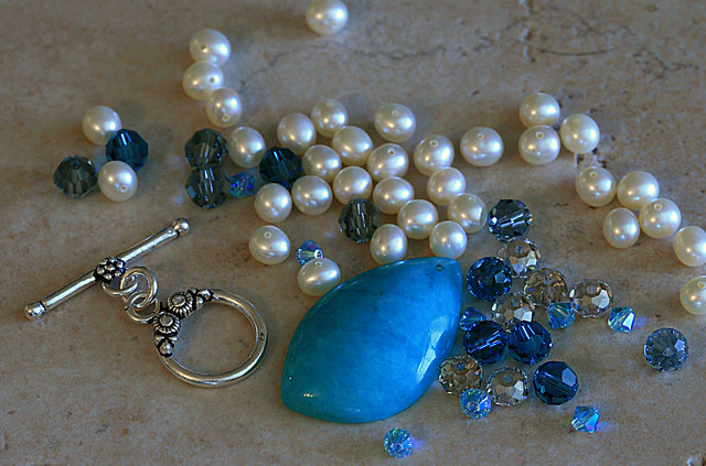 Bead Soup mix that Wendy Blum sent me! The Peruvian Amazonite pendant is so much prettier in person! I love it!