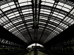 Hauptbahnhof (seanjonesfoto) Tags: travel summer blackandwhite bw lines architecture contrast germany deutschland europe perspective structures cologne engineering trains hauptbahnhof smartphone abroad transportation hbf koln iphone highspeedtrain 2011 dbbahn seanjonesfoto