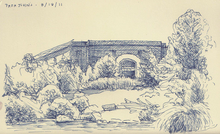 sketchbook drawing of the grounds of Papa Johns International
