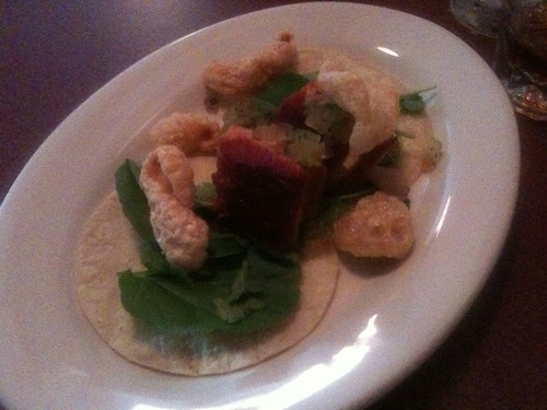 Course One: Adobo Braised Pork Belly Taco