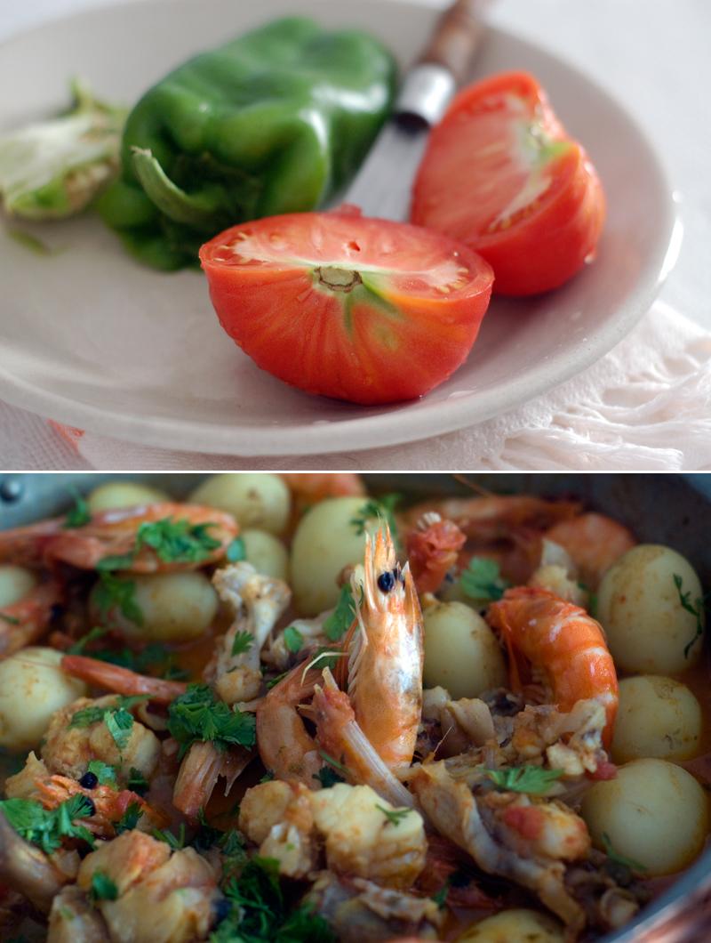 Cataplana de peixe e camarão