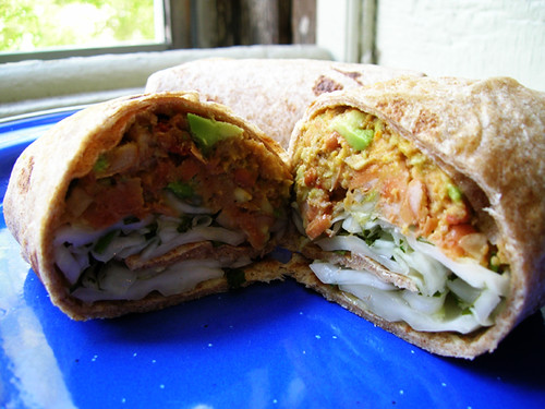 pinto bean and avocado wrap with white slaw