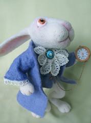 """Oh dear! Oh dear! I shall be too late!"" (Little WoolHouse) Tags: rabbit wool toys felting handmade whiterabbit handmadetoy aliceinthewonderland feltedtoys feltedtoy neddlefelted needlefeltedtoy"