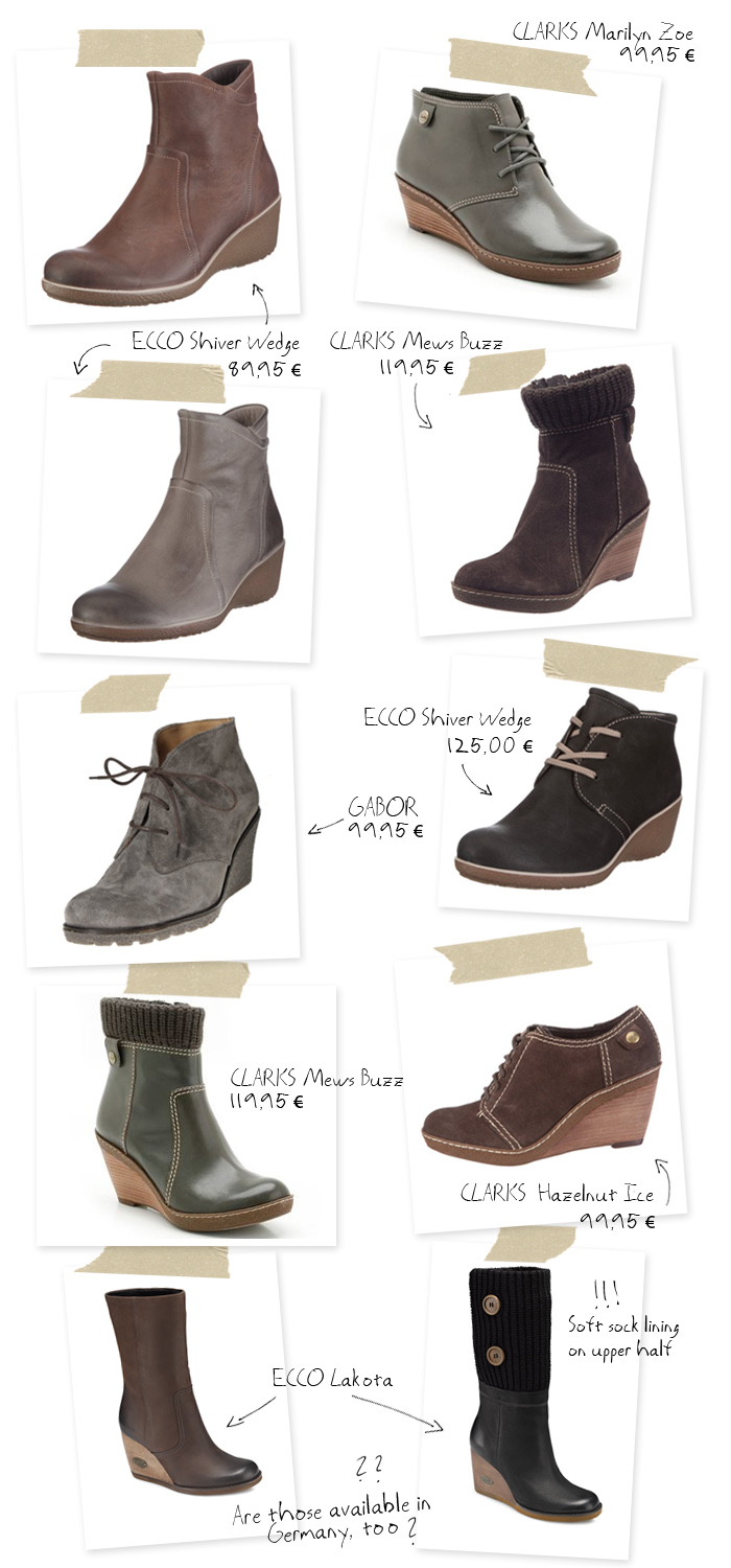 Getting ready for Fall...with wedge ankle boots from ECCO, Gabor and Clarks