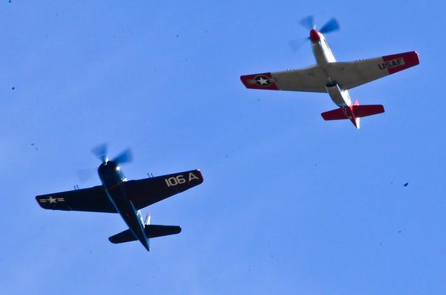 HFF Grumman F8F-2 Bearcat  escorts HFM P-51D Val Halla down midfield
