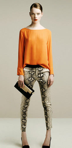 Zara Spring 2011 orange shirt snake pants