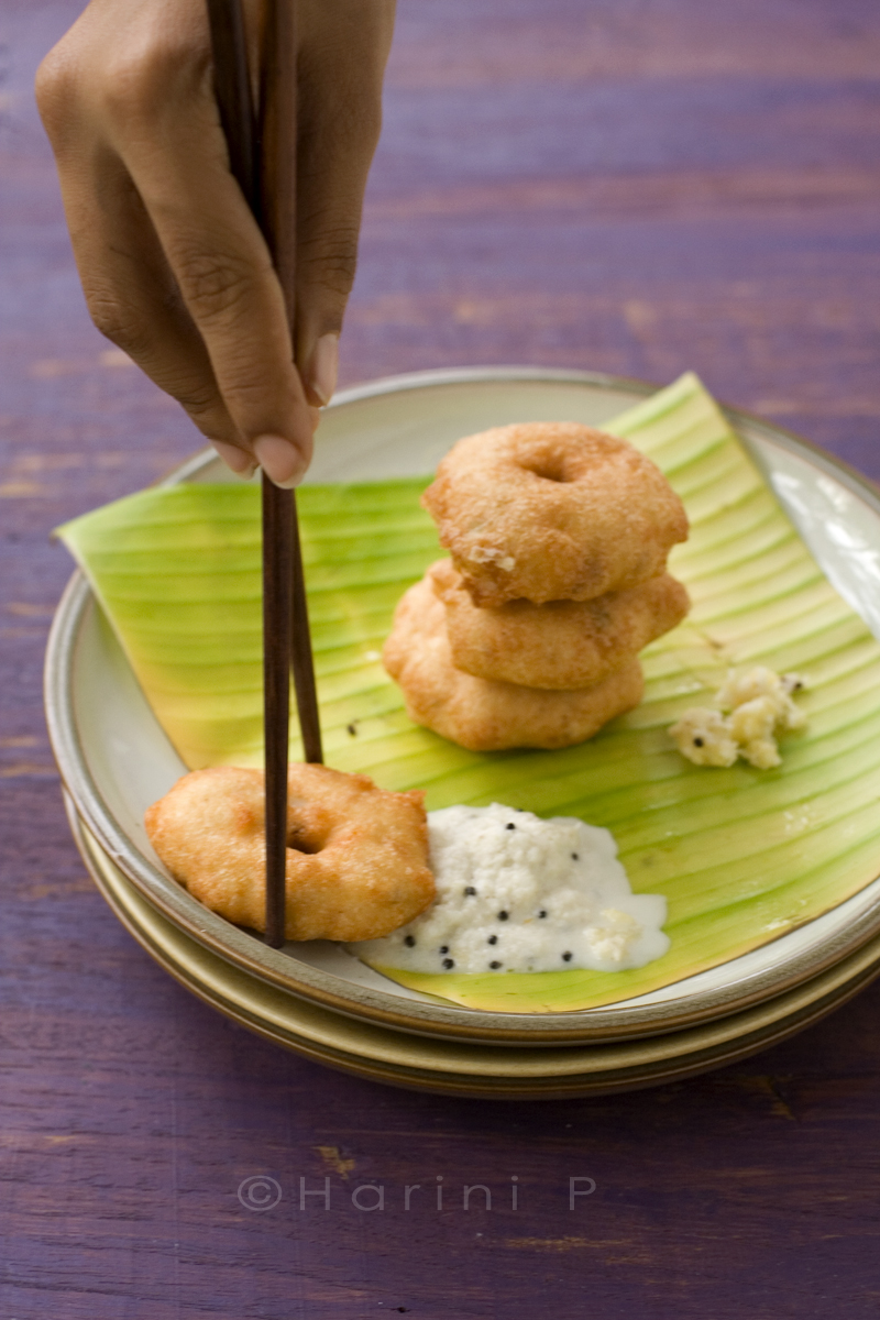Vadai - a deep fried Indian snack.