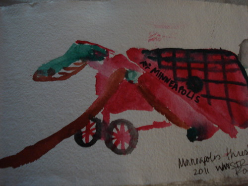 Watercolor of a Minneapolis thresher