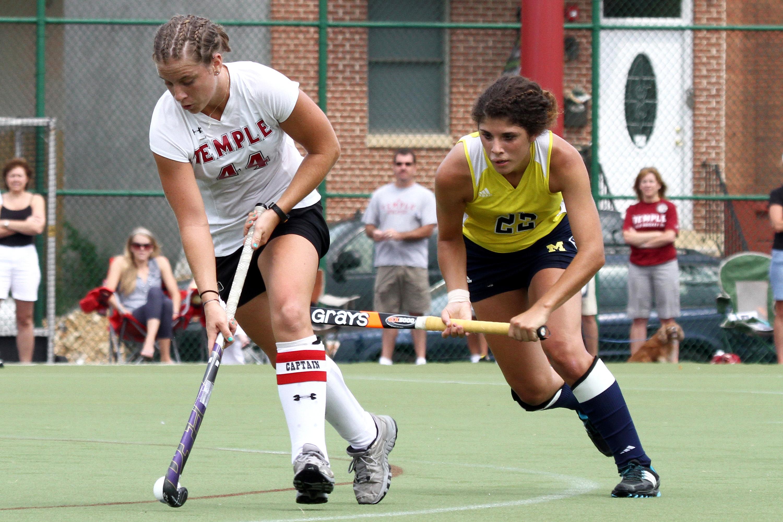 Temple's #44 Senior Forward Bridget Settles and Michigan's #22 S