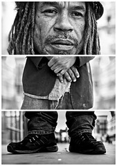 Triptychs of Strangers #21, The Appreciative Rough Sleeper - London (adde adesokan) Tags: park street travel portrait england blackandwhite bw white man black london face hat dreadlocks pen mouth photography shoes triptych bokeh voigtlander voigtlaender homeless streetphotography olympus stranger portrt jeans hut change torn sw mann schwarzweiss bricklane weiss schuhe schwarz spitalfields voigtlnder mund 25mm triptic ep1 ep2 tryptic triptychs f095 streetphotographer m43 triptychon mft obdachlos roughsleeper mirrorless triptychons microfourthirds theblackstar epl2 mirrorlesscamera streettogs triptychsofstrangers