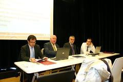 En la mesa de presentaciones de la Sala de Audiovisuales de Lobiano:Sergio Diaz, Clemente, Juan Luis Perez de Rueda y Juan Carlos Sanz Valero