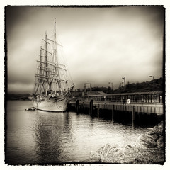 Srlandet in Stornoway (Grim Git) Tags: bw 3 silver square lens harbor scotland nikon ship shot katia harbour hurricane sunday full pro format tall nikkor westernisles hdr afs isleoflewis rigged lightroom sliders stornoway outerhebrides photomatix sorlandet tonemapped tonemapping efex d5000 1685mm