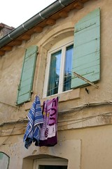 Home and dry (Peter Denton) Tags: france window europe fenster eu shutters towels provence arles washing fenetre canoneos60d ©peterdenton