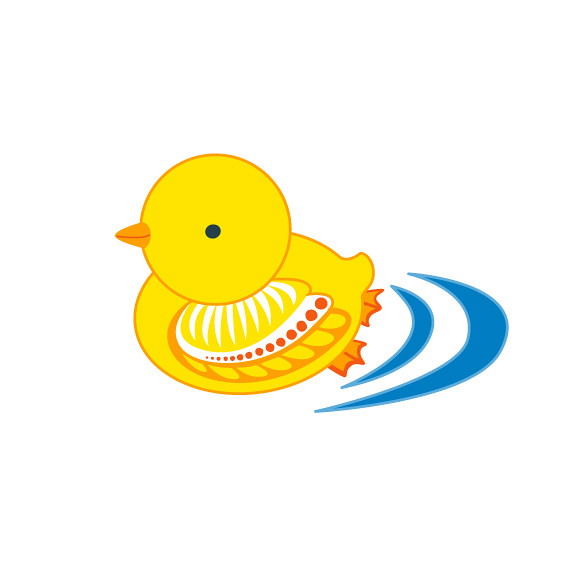 chick illustration for baby swimsuits
