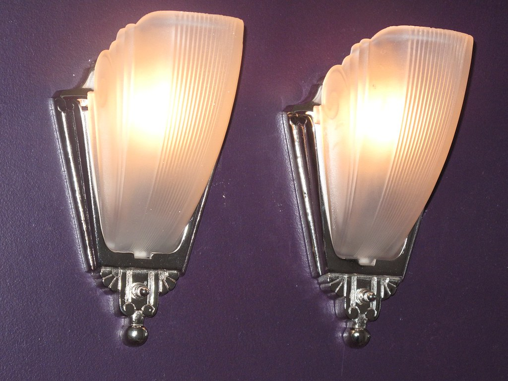 Nickel Deco Lighting | Slip Shade Vintage Lamps | Vintagelights.com