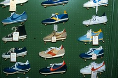 Sneaker Display, Early 80's (Wires In The Walls) Tags: ohio vintage shoes cincinnati sneakers nike departmentstore converse kicks 1980s km dunks fredperry storedisplay pegboard bygone rikes shillitos etonic