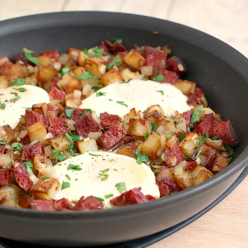 Baked Eggs with Corned Beef Hash | Tracey's Culinary Adventures