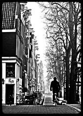 Amsterdam Biker (Michael Shoop) Tags: travel people blackandwhite bw holland tourism netherlands dutch amsterdam bicycle fog europe candid nederland biker bicyclist prinsengracht nl europeanunion fiets noordholland jacobolie fietser leidsegracht canalhouses bikerider candidstreet candidstreetphotography michaelshoop
