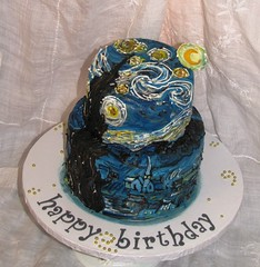 Van Gogh's Starry Starry Night Cake (EForkey (formerly EB Cakes)) Tags: cake painting birthdaycake vangogh fondant starrystarrynight toccoaga specialtycakes ebcakes