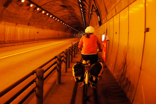 Cycling through tunnel near Bikuni, Shakotan Peninsula, Hokkaido, Japan