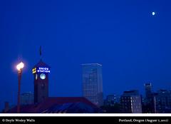 Portland, Oregon (August 7, 2011) (Doyle Wesley Walls) Tags: city sky urban moon clock night oregon buildings portland lights photograph unionstation gobytrain lagniappe 0450 doylewesleywalls