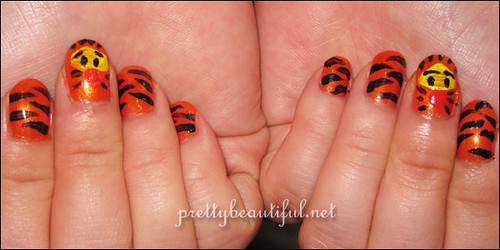 Nail Art Tutorial Tiger Stripes With Tigger From Winnie The Pooh