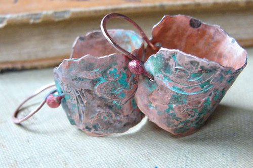 Handmade patina'ed copper hoop earrings