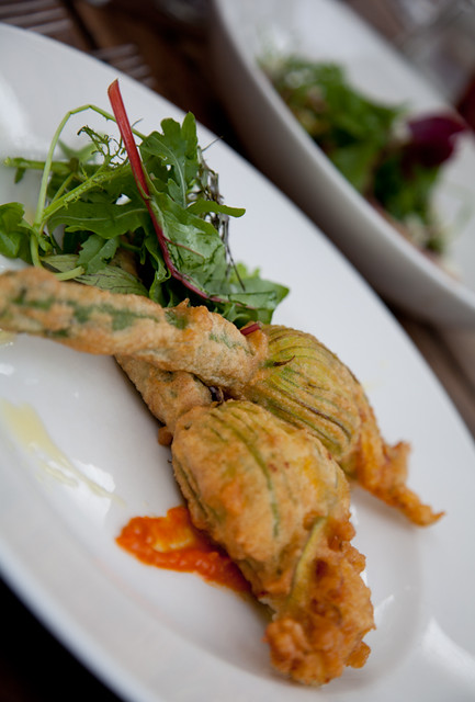 Tempura Courgette at The Griffin Inn, Fletching England