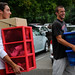 Students head for Lee Hall with another round of boxes.