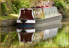 Narrowboat, reflected. (Rob-33) Tags: reflection water reflections boat canal barge narrowboat pentaxkx staffsworcscanal austcliffe